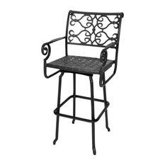 three coin cast veracruz solid cast aluminum swivel barstool black bar stools and