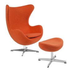 Egg Chair With Tilt-Lock Mechanism and Ottoman, Orange Wool Fabric