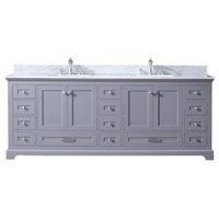 """Dukes 84"""" Double Vanity, Carrara Marble, Square Sinks, No Mirror, Dark Gray"""