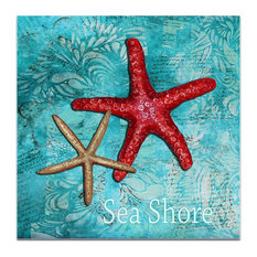 Starfish Wall Art 'Sea Shore', Coastal Decor on Acrylic
