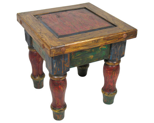 Rustic Painted Wood End Table   Side Tables And End Tables