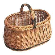 Vintage Wicker Oval Shopping Basket With Handle