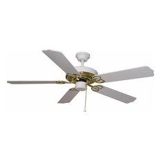Ceiling Fan, Polished Brass & White