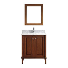 "Lily 30"" Vanity Set, Cherry and Natural Carrera"