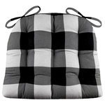 "Barnett Home Decor - Buffalo Check Black and Gray Dining Chair Pad, Latex Foam Fill, Standard - Buffalo check dining chair pads feature a traditional plaid of black and grey checks about 2.5"" inch in size. -Perfect for a rustic decor!"