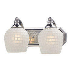 Bathroom Vanity 2-Light With Polished Chrome White Mosaic Glass 14""