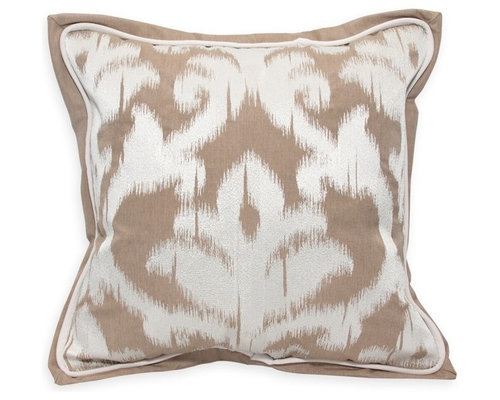 """Damask Embroidery 18""""x18"""" - Canvas Heather Beige - Products"""
