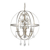 Luna 4-Light Wrought Iron Crystal Orb Chandelier, Silver
