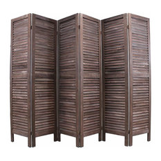 Traditional Folding Room Divider, Brown Finished Wood Perfect for Your Privacy
