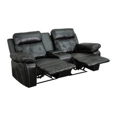 Reel Comfort Series 2-Seat Reclining Leather Theater Seating Unit, Black