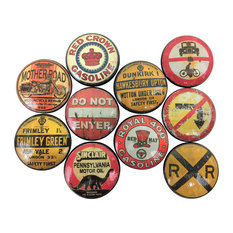 10 Piece Set, Vintage Road Signs Print Cabinet Knobs