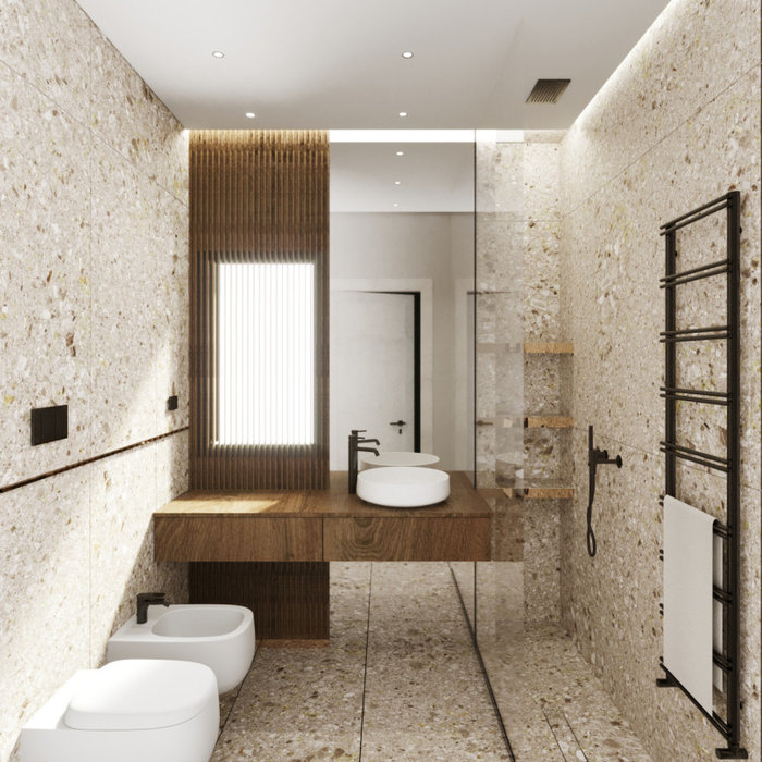 Inspiration for a small contemporary 3/4 beige tile and stone slab limestone floor, beige floor, single-sink, tray ceiling and brick wall bathroom remodel with beaded inset cabinets, medium tone wood