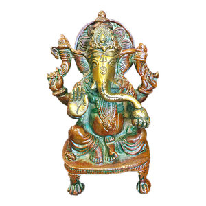 Mogulinterior - Ganesh Brass Statue Sitting Hindu God Ganesha Sculpture Prayer Temple Decor - Decorative Objects And Figurines