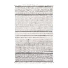 Handmade Flatweave Textured Stripes Cotton Fringe Area Rug, Gray, 5'x8'