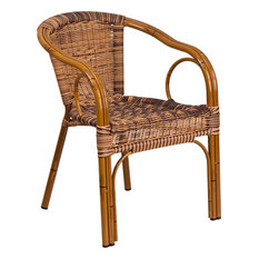 Cadiz Series Rattan/Aluminum Patio Chair, Burning Brown Rattan/Dark Red Bamboo