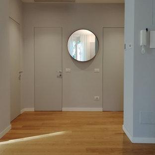 Exempel på en mellanstor modern hall, med grå väggar och ljust trägolv