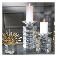 """Sagebrook Home Crystal Striped Candlestick Holder 11"""" Candle holder Tealight"""