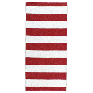 Chunky Stripe Woven Vinyl Floor Cloth, Red, 150x150 cm