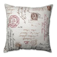 "French Postale Floor Pillow, Linen/Red, 24.5"""