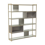 Federico High Bookcase, Weathered Oak, Brass Accent