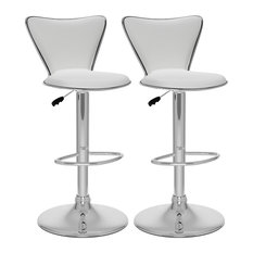 MOD - Fresca Curved Back Adjustable White Leatherette Bar Stools, Set of 2 - Bar Stools and Counter Stools