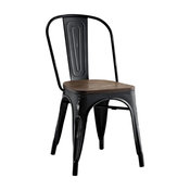 Modern Industrial Distressed Antique Vintage Style Dining Chair, Black, Metal