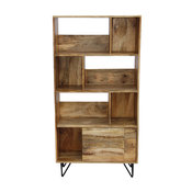Industrial Design Wooden Bookshelf/Display Cabinet, Natural Brown and Black