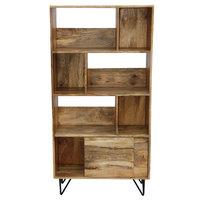 Industrial Design Wooden Bookshelf/Display Cabinet, Natural Brown and Black