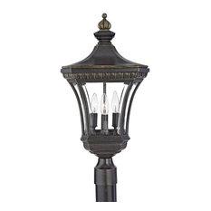 Devon 3-Light Medium Post Lantern, Imperial Bronze, Clear Beveled Glass
