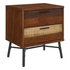Calmar Rustic Wood Nightstand - Walnut