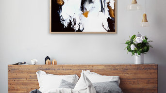 HIM AND HER - Black White Gold 1 40x40 in Canvas print in timber box frame