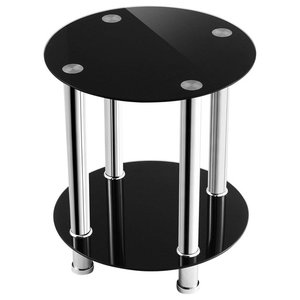 Modern Round Coffee Table, Stainless Steel Frame and Black Tempered Glass