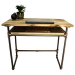 Furniture Pipeline - Berkeley Mid-Century Writing Desk, Brushed Brass Gray Steel/Natural - Amp productivity and creativity in your home office with this industrial mid-century pipe writing desk. Its stylish mid-century lightweight design features a handy lower sustainable reclaimed/aged finished solid Paulownia (looks like Ash  lifts like cardboard!) wood shelf for extra storage  keeping supplies close at hand. Perfect for small apartments and studios where space is at a premium. This writing desk is lightweight and durable  easy to move around as needed  arriving at your doorstep with 100% recyclable packaging for a lifetime of enjoyment!