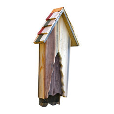 Vintage Bat House, Antique Cypress With Multicolored Shingled Roof