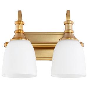 Quorum Richmond 2-Light Vanity, Aged Brass
