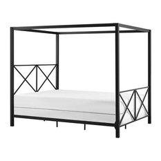 DHP Rosedale Modern Romance Metal Queen Canopy Bed in Black