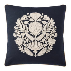 """Black/Ivory 22""""x22"""" Floral Medallion Accent Throw Pillow"""