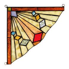 "CHLOE Lighting ORCHID Mission Tiffany-glass Window Panel 8"""