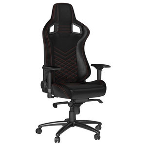 Gaming Chair Upholstered, PU Leather, Adjustable Height, Red and Black