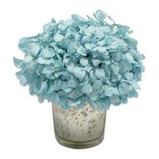 Mercury Glass Votive, Hydrangea Ice Blue Floral Arrangement