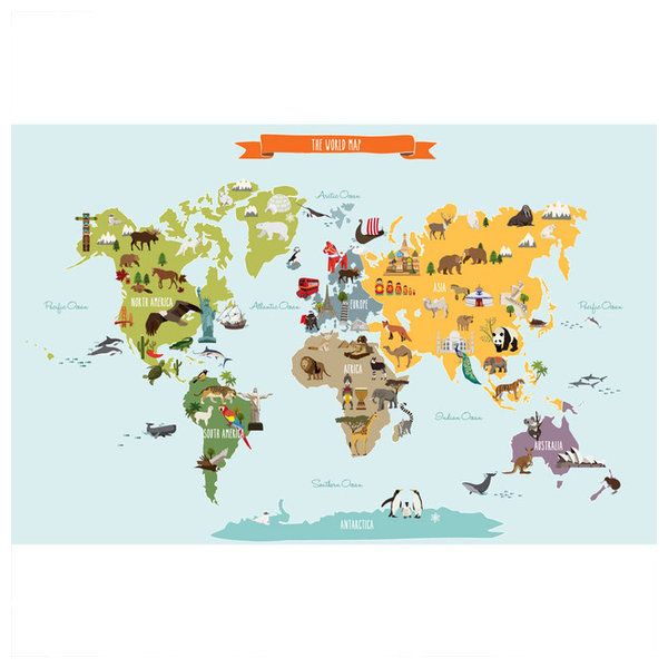 The world map poster wall sticker contemporary kids wall decor the world map poster wall sticker large gumiabroncs Image collections