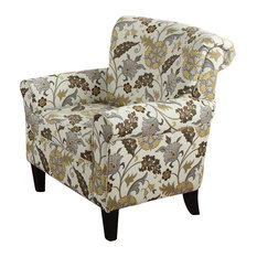 Coaster Fabric Club Arm Chair in Brown Flower Pattern