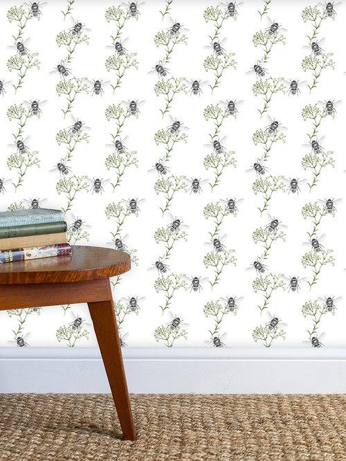 Bee & Gypsophila White Wallpaper - Wall Decor