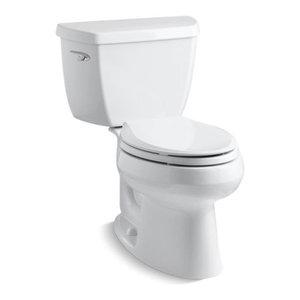 Kohler Wellworth 2-Piece Elongated 1.28 GPF Toilet w/ Left-Hand Lever, White