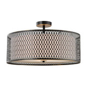 """Spencer Semi-Flush Fixture With Off-White Shade, Brushed Bronze, 17"""""""