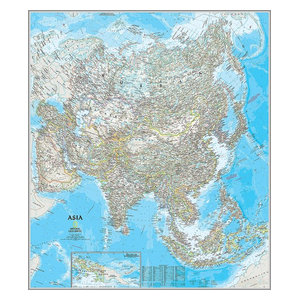 Map of Asia Wallpaper Wall Mural, Self-Adhesive - Contemporary ...