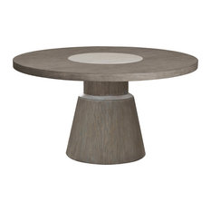 Modern Round Dining Table With Marble Insert Natural Taupe