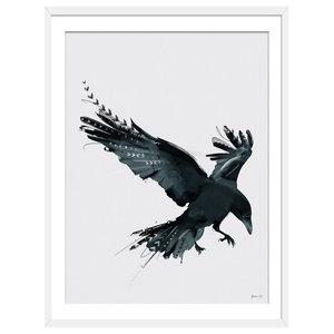 """As The Crow Flies"" Boho Art Print, White Framed, 30x40 cm"