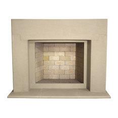 Crescent Cast Stone Fireplace Mantel, Buff