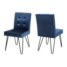 Natalie Glam Tufted Velvet Dining Chairs With Iron Legs Set Of 2